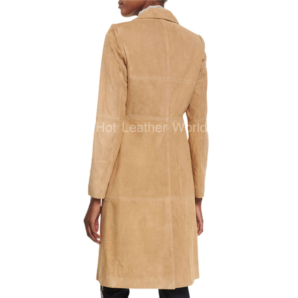 Suede Mid-Length Coat For Women -  HOTLEATHERWORLD