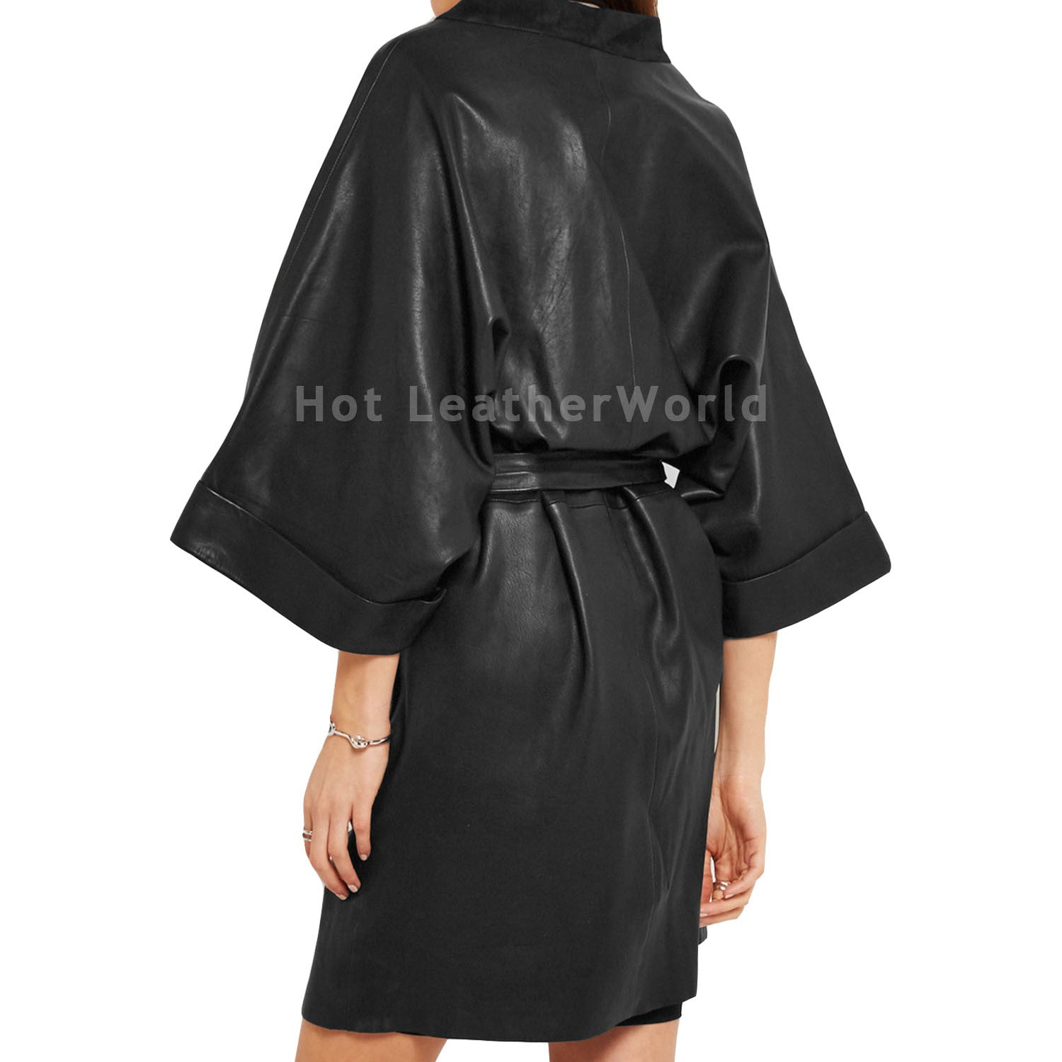 Suede Trimmed Leather Coat -  HOTLEATHERWORLD