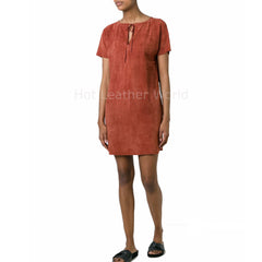 Keyhole Women Suede Red Leather Dress