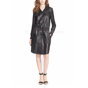 Corporate Style Women Leather Dress -  HOTLEATHERWORLD