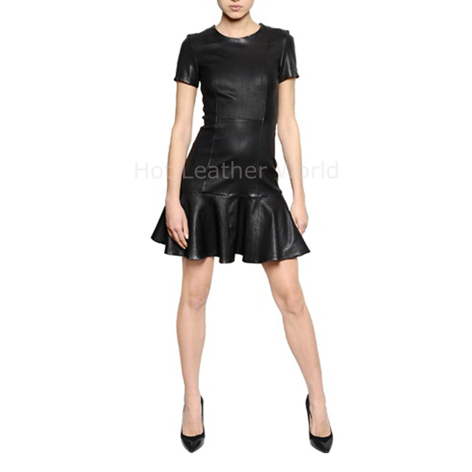 Flared Women Mini Leather Dress -  HOTLEATHERWORLD