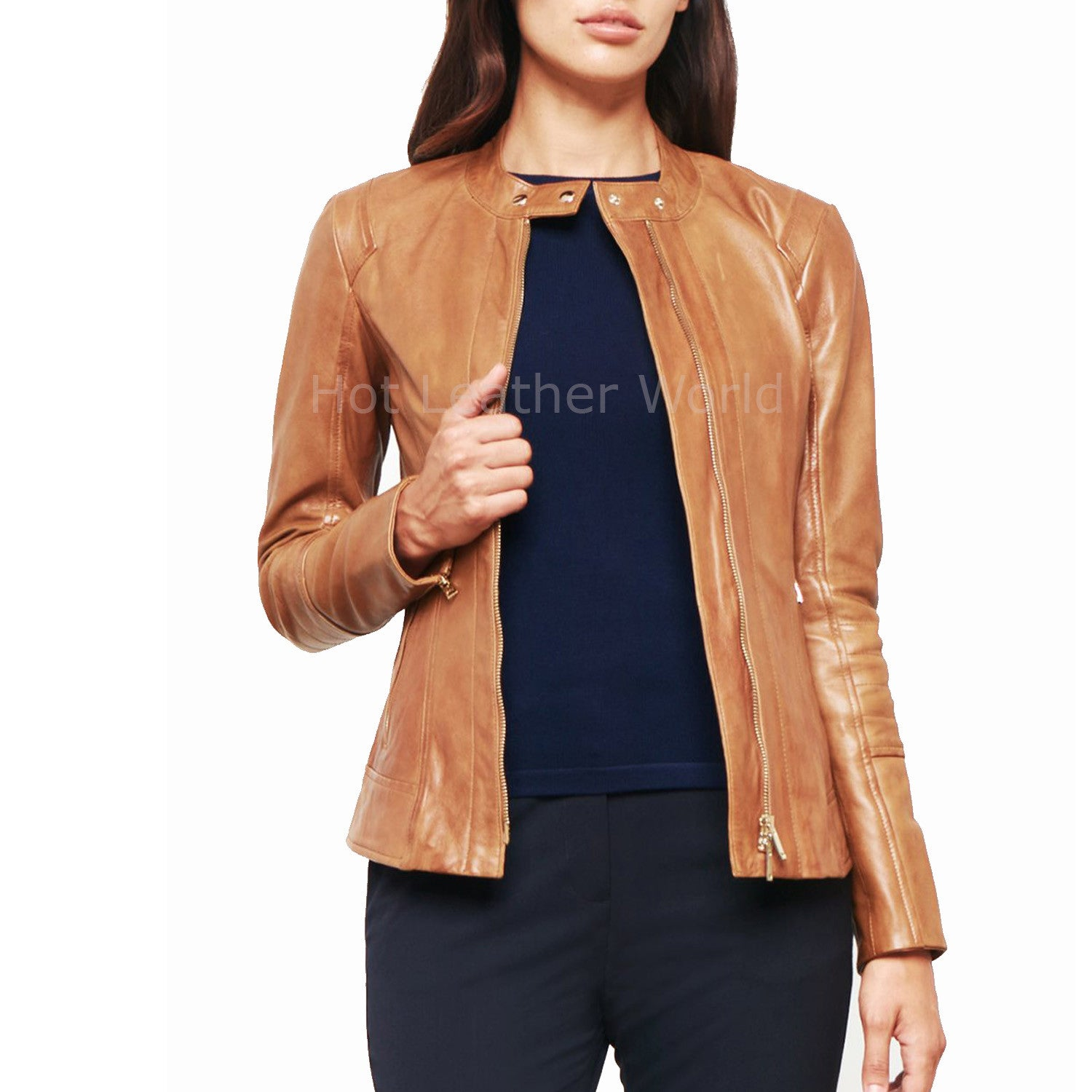 Tab Neck Women Leather Biker Jacket -  HOTLEATHERWORLD