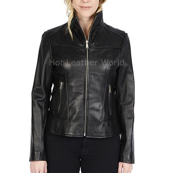 Elegant Women Leather Biker Jacket -  HOTLEATHERWORLD
