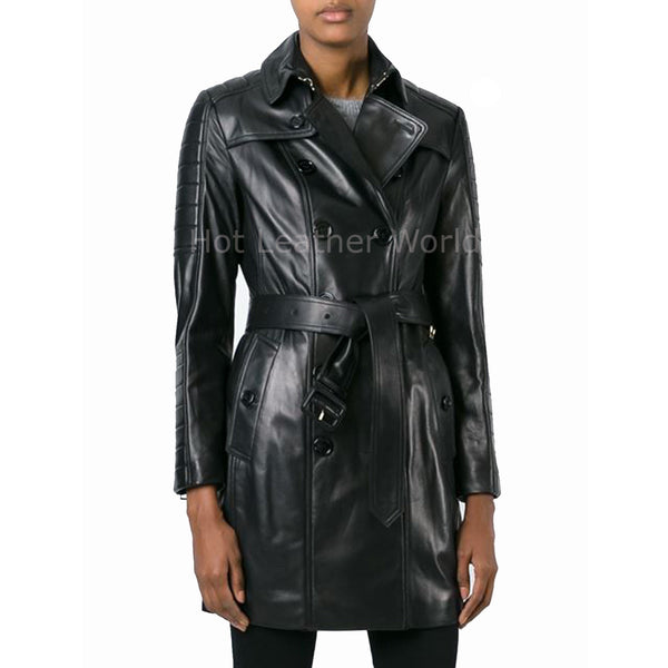 Double Breasted Women Winter Leather Coat -  HOTLEATHERWORLD