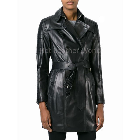 Double Breasted Women Winter Leather Coat