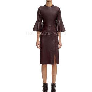 Designer Style Women Leather Dress -  HOTLEATHERWORLD
