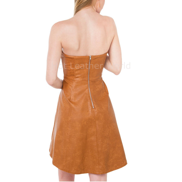 Strapless Style Women Leather Dress -  HOTLEATHERWORLD