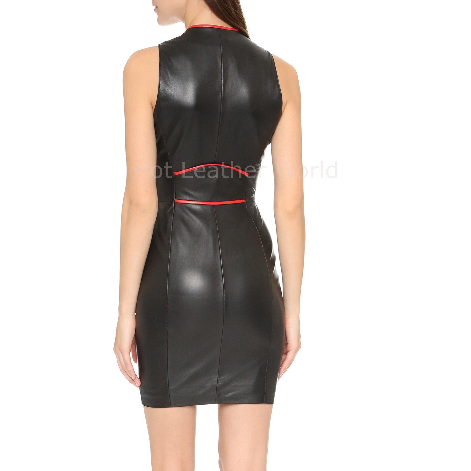 Mini Style Women Leather Dress -  HOTLEATHERWORLD