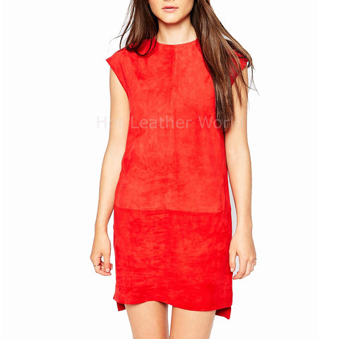 Women Suede Red Leather Dress -  HOTLEATHERWORLD