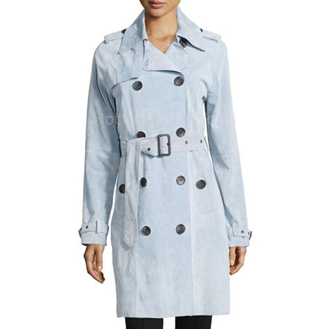 Suede Leather Women Stylish Leather Coat -  HOTLEATHERWORLD