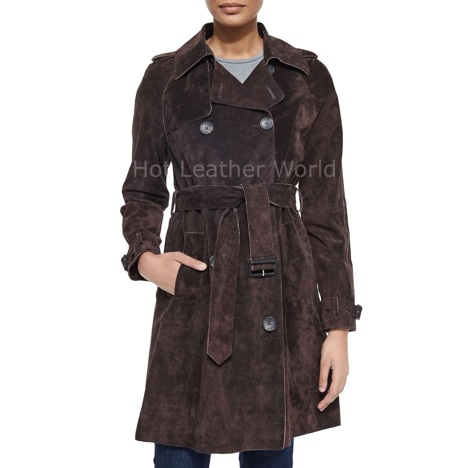 Winter Special Women Suede Leather Coat -  HOTLEATHERWORLD