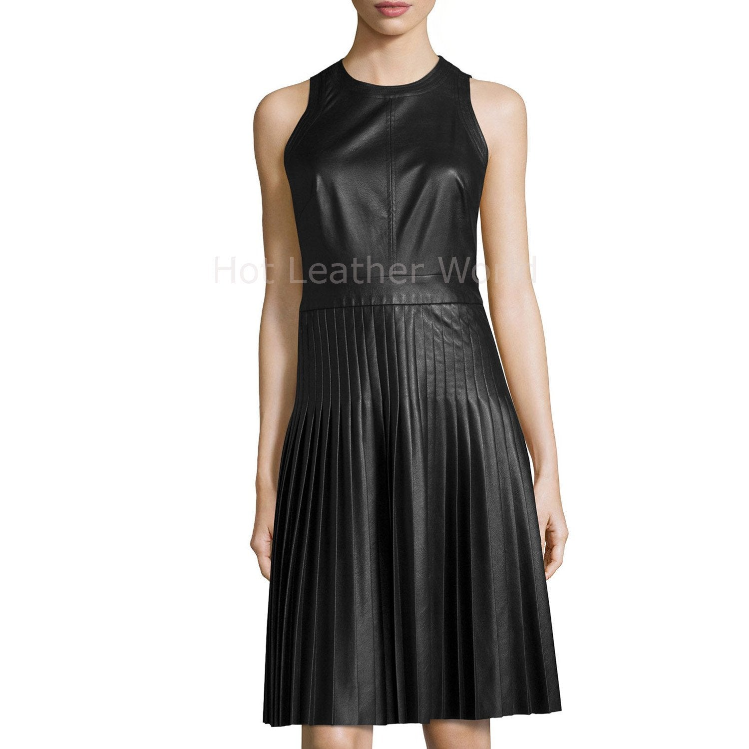 Accordion Pleat Women Leather Dress -  HOTLEATHERWORLD