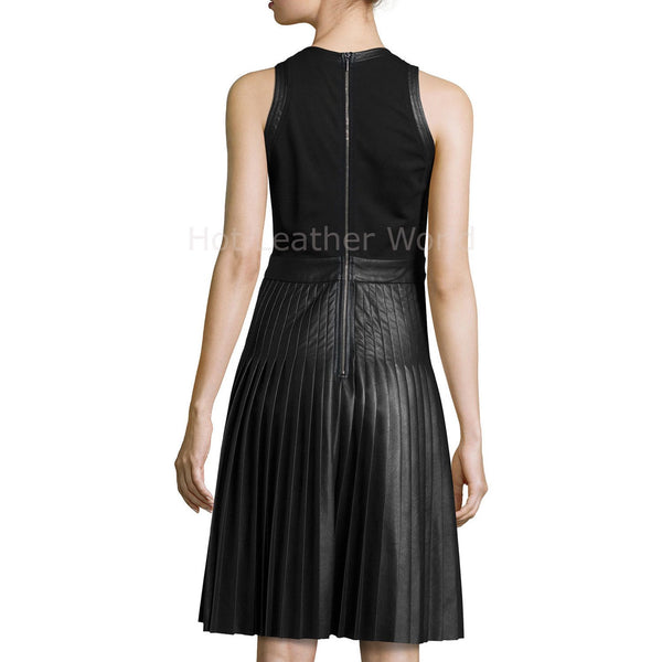 Accordion Pleat Women Leather Dress