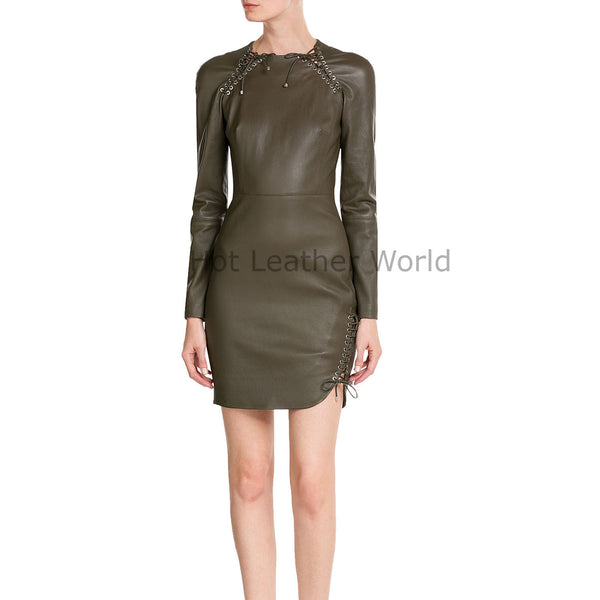 Laced Details Women Leather Dress -  HOTLEATHERWORLD