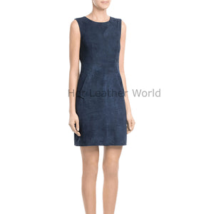 Round Neck Women Suede Leather Dress -  HOTLEATHERWORLD