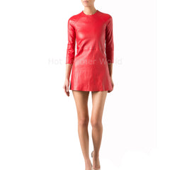 Mini Women Coctail Red Leather Dress
