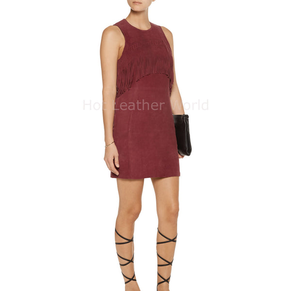 Fringe Detail Women Suede Red Leather Dress