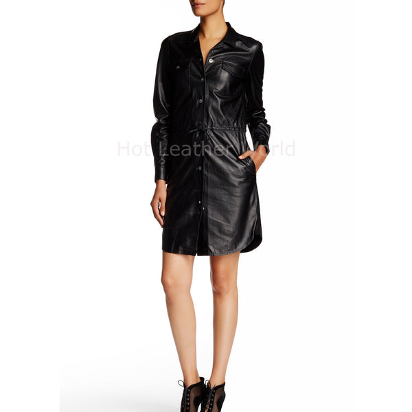 Women Elegant Coat Leather Dress -  HOTLEATHERWORLD