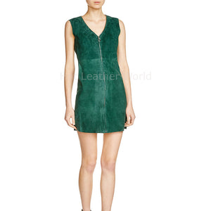 V Neck Women Leather Suede Dress -  HOTLEATHERWORLD