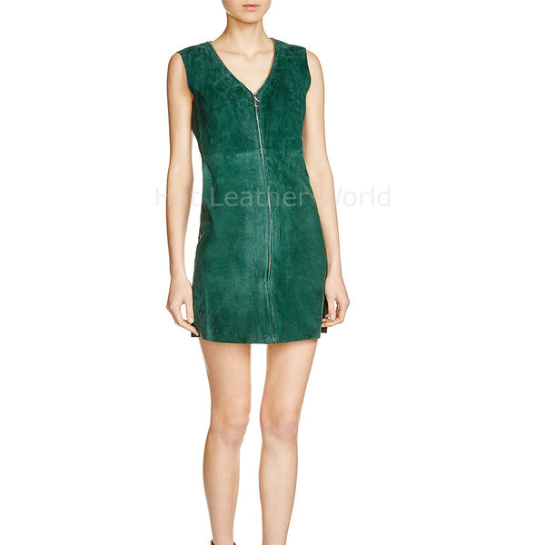 V Neck Women Leather Suede Dress