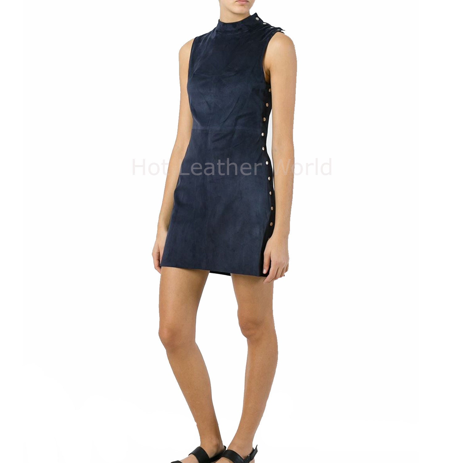 High Neck Women Leather Suede Dress -  HOTLEATHERWORLD