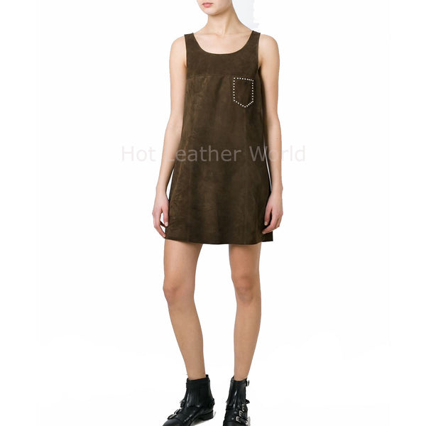 Wide Neck Women Suede Leather Dress -  HOTLEATHERWORLD