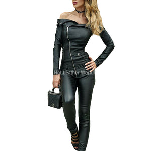Hot Style Leather Jumpsuit for Women -  HOTLEATHERWORLD