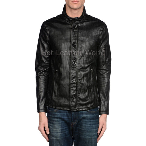 Crinkled Men Biker Leather Jacket -  HOTLEATHERWORLD