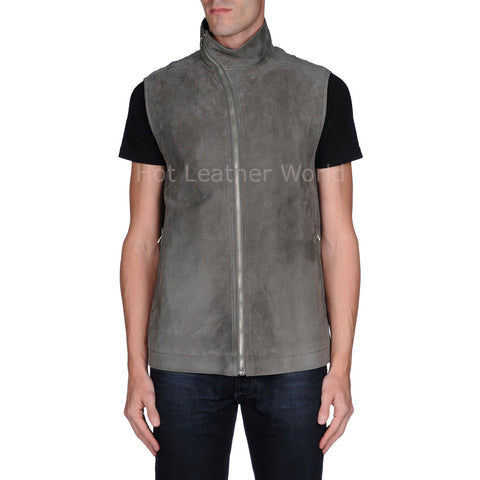 Trendy Men Suede Leather Vest -  HOTLEATHERWORLD