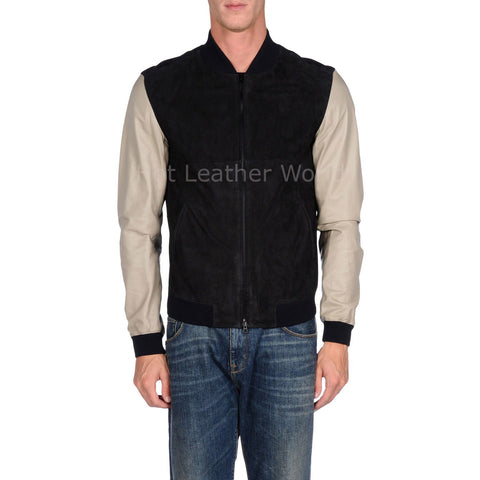 Suede Leather Contrast Style Men Biker Jacket -  HOTLEATHERWORLD