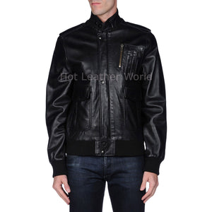 Stand Collar Men Leather Motorcycle Jacket -  HOTLEATHERWORLD