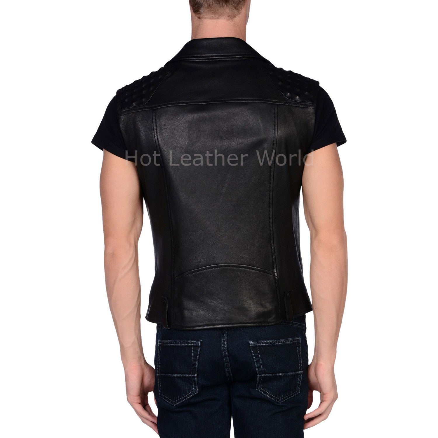 Sleeveless Style Men Leather Double Breasted Jacket -  HOTLEATHERWORLD