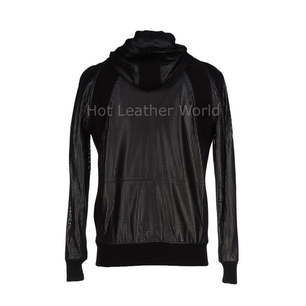 Hooded Men Leather Biker Jacket -  HOTLEATHERWORLD