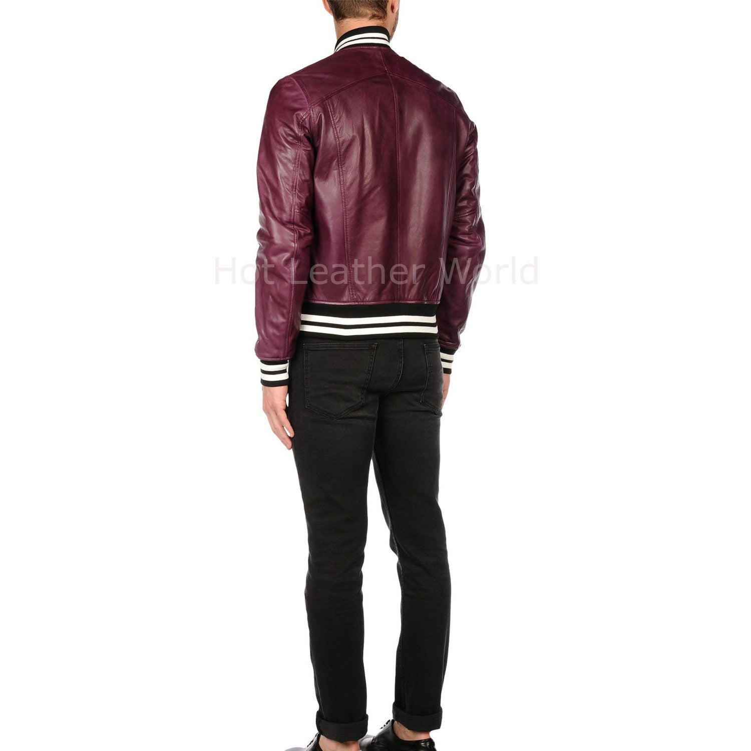 Contrast Detail Men Leather Bomber Jacket -  HOTLEATHERWORLD