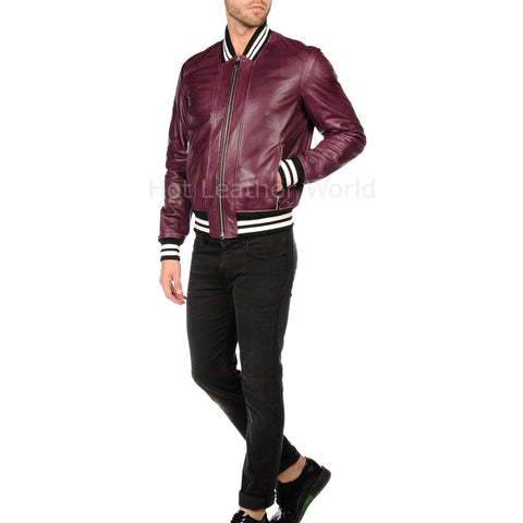 Contrast Detail Men Leather Bomber Jacket
