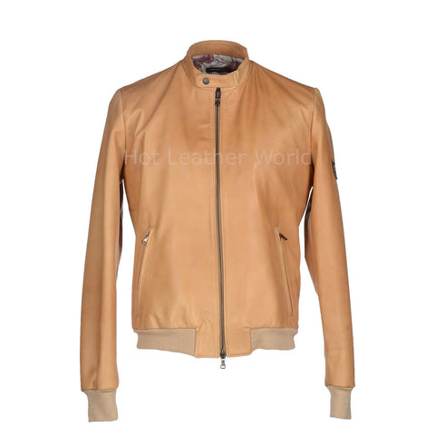 Stylish New Men Bomber Leather Jacket -  HOTLEATHERWORLD