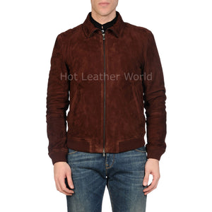 Suede Leather Men Bomber Jacket -  HOTLEATHERWORLD
