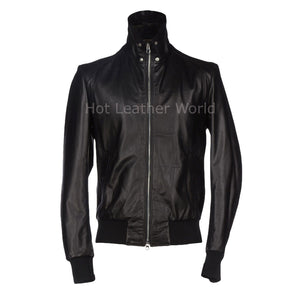 Chic Style Men Leather Bomber Jacket -  HOTLEATHERWORLD