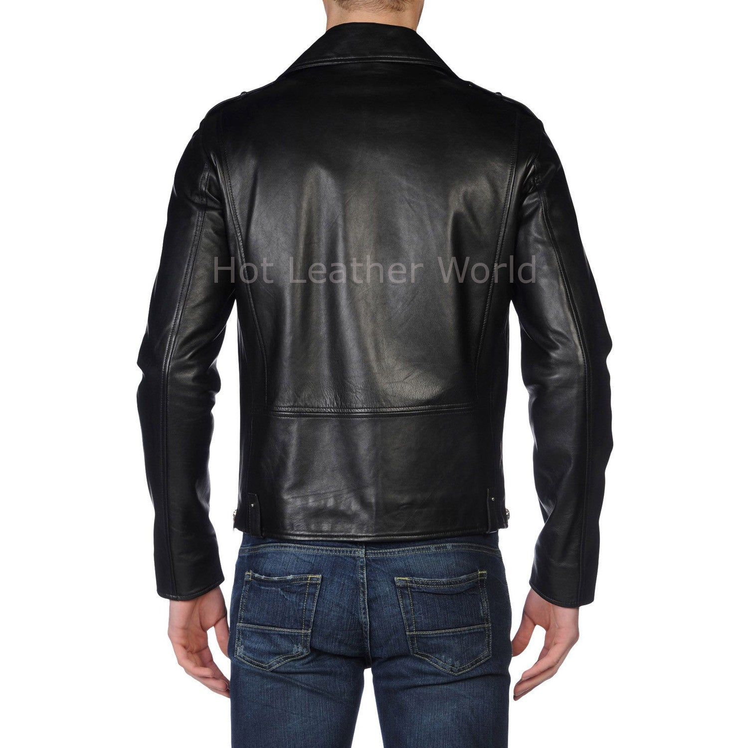 Notch Collar Designer Men Leather Biker Jacket -  HOTLEATHERWORLD