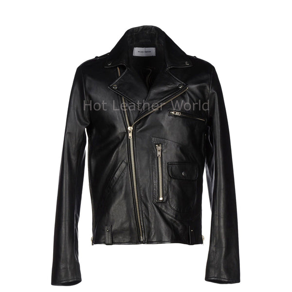 Notch Collar Designer Men Leather Biker Jacket