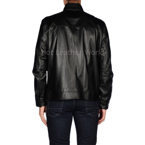 Classic Men Biker Leather Jacket -  HOTLEATHERWORLD