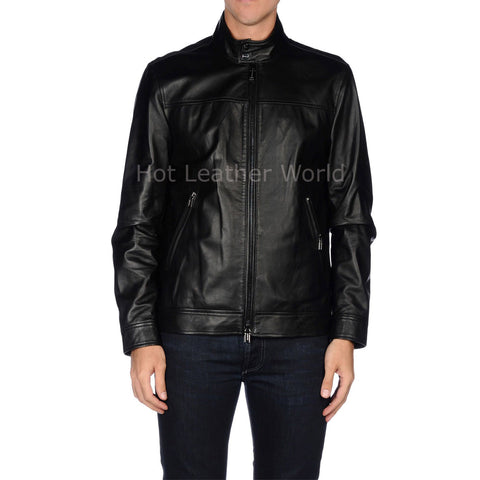 Classic Men Biker Leather Jacket