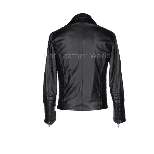 Paneled Men Leather Biker Jacket -  HOTLEATHERWORLD