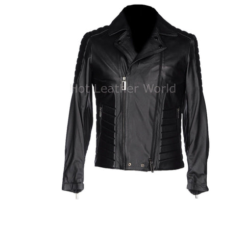 Paneled Men Leather Biker Jacket