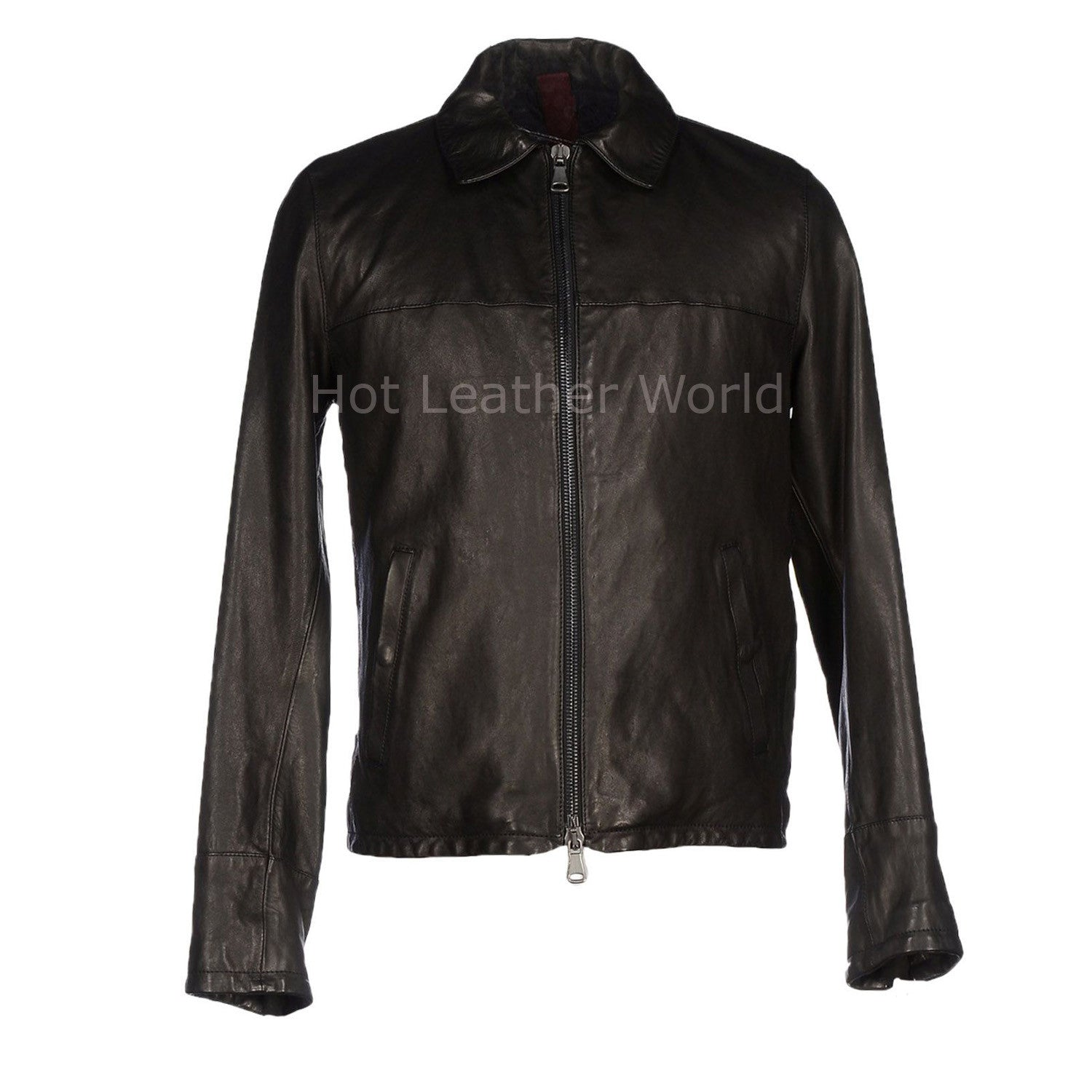 Elegant New Style Men Leather Jacket -  HOTLEATHERWORLD