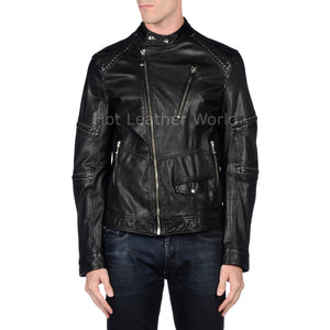 Designer Style Men Leather Biker Jacket -  HOTLEATHERWORLD