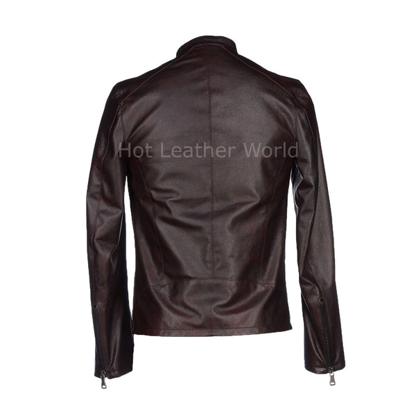 Classic New Style Men Leather Jacket -  HOTLEATHERWORLD