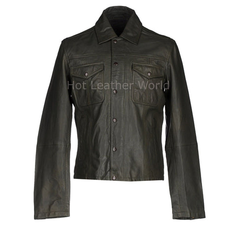 Button Fastening Men Leather Jacket -  HOTLEATHERWORLD