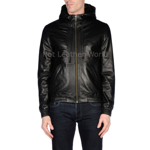 Hooded Style Men Leather Jacket -  HOTLEATHERWORLD