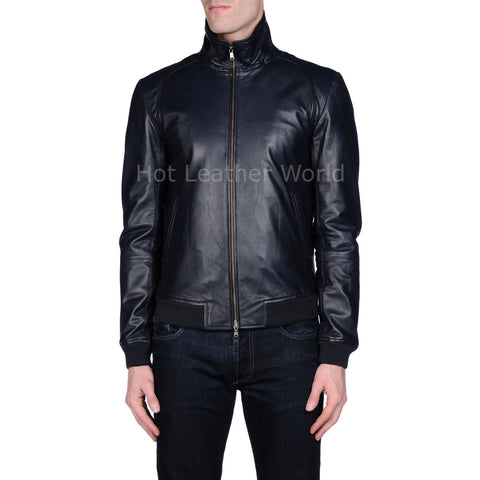 Ribbed Style Men Leather Jacket